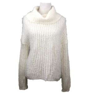 FEVER Fuzzy Winter Cowl-neck Sweater Ivory L